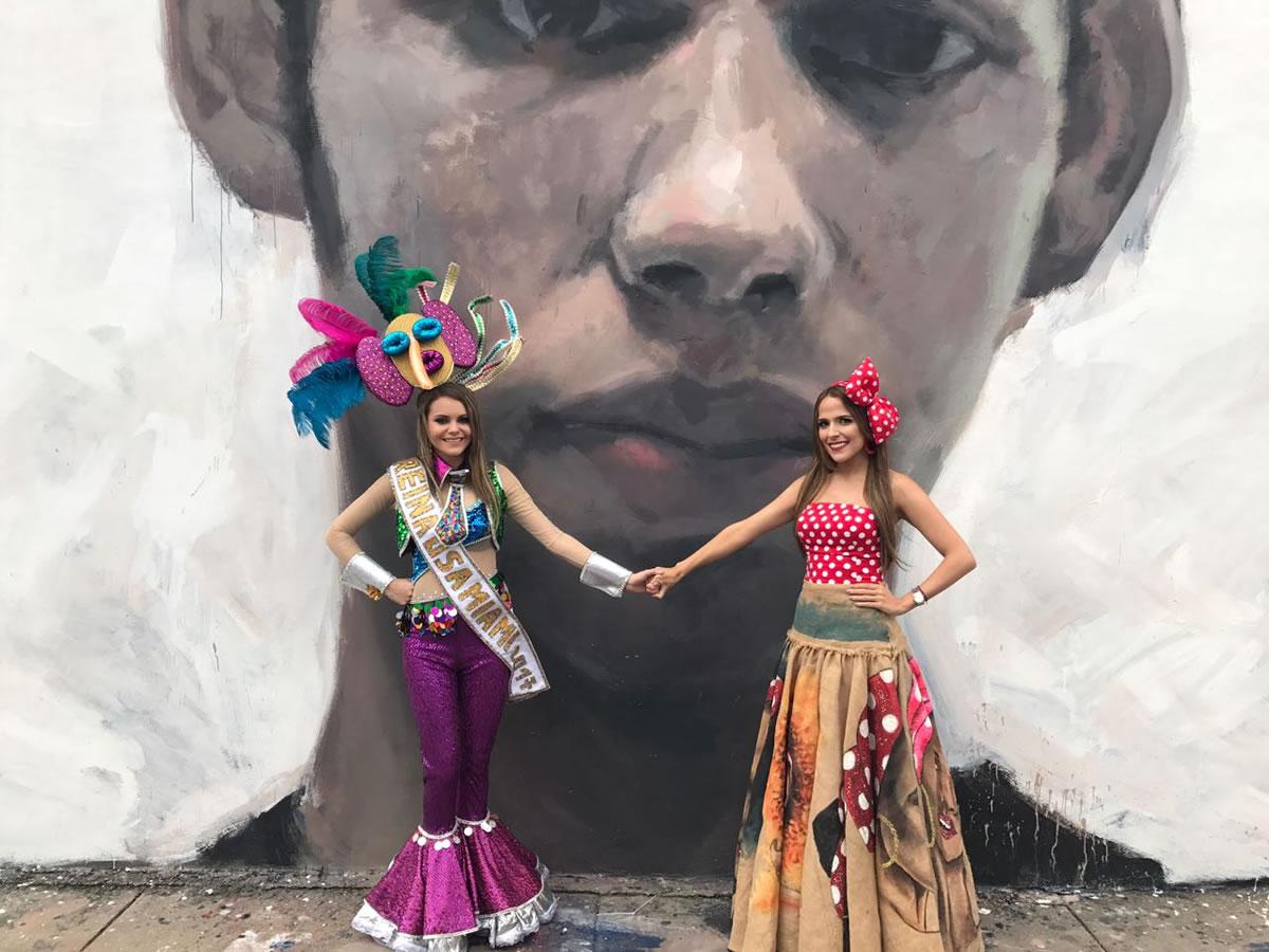 La Reina del Carnaval inaugura mural en honor al grafitero Israel Hernández, en Miami