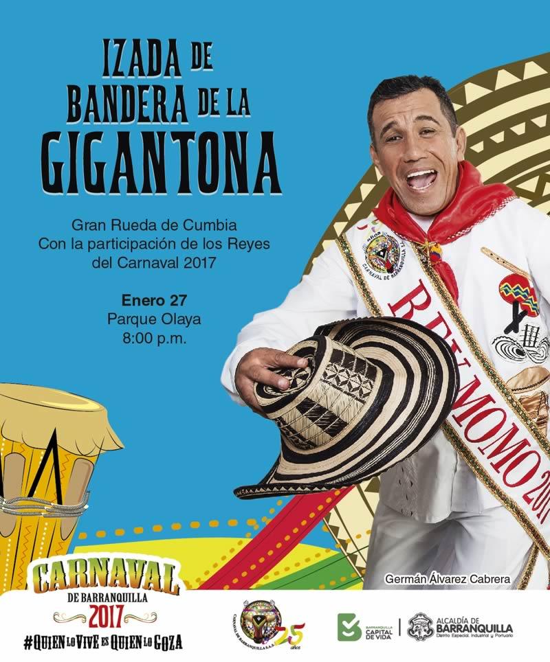 El rey Momo Germán Álvarez se toma el parque Olaya con la izada de La Gigantona