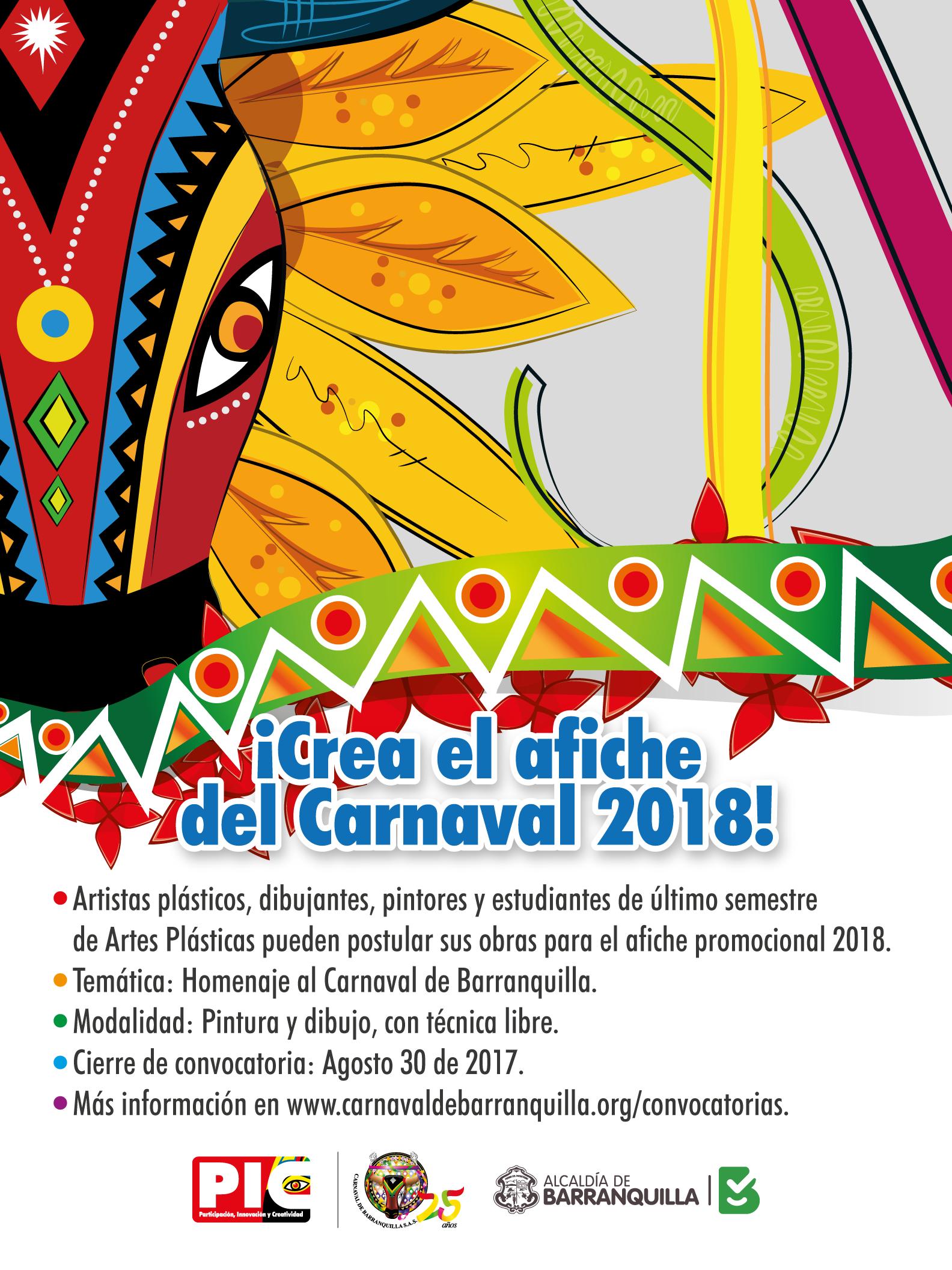 Abierta convocatoria para diseño de afiche y carrozas del Carnaval 2018