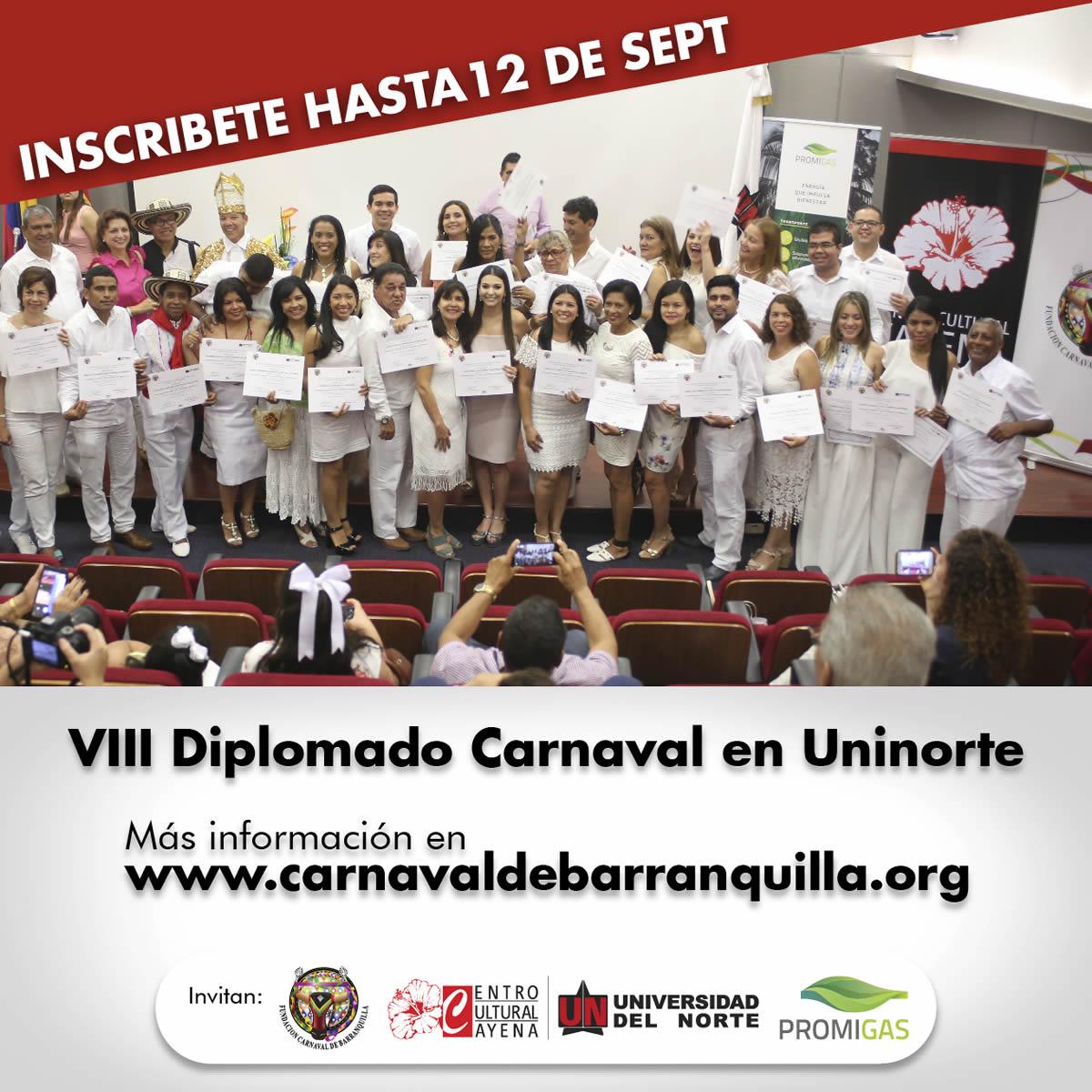 Hasta el 12 de septiembre inscripciones para Diplomado de Carnaval