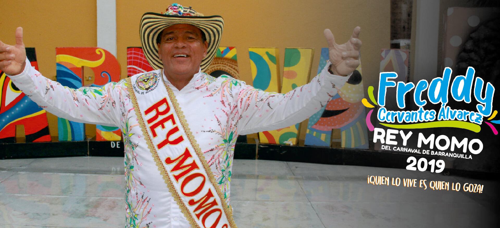 Freddy Cervantes, de Las Ánimas Blancas de Rebolo, Rey Momo 2019