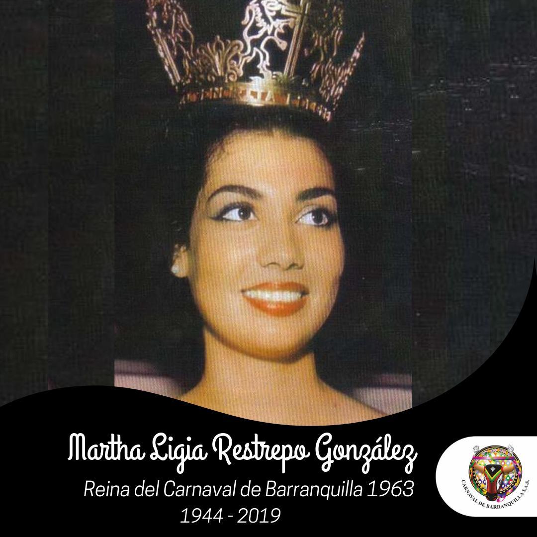 Carnaval de Barranquilla, lamenta el sensible fallecimiento de Martha Ligia Restrepo Reina del Carnaval en 1963