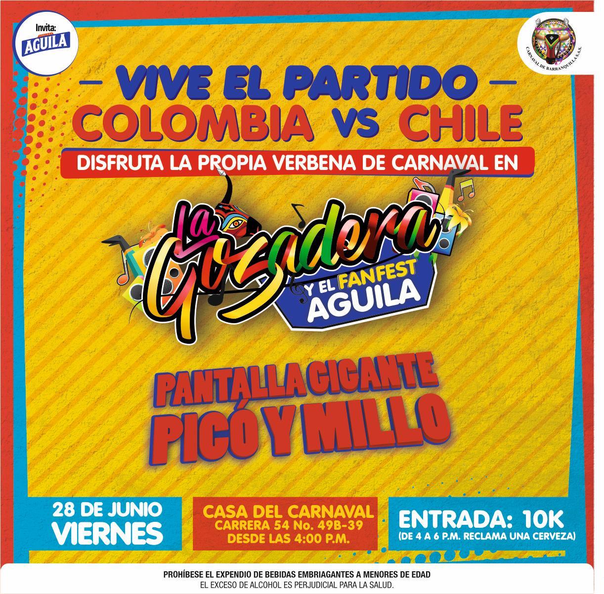 La Gozadera tricolor para el partido  Colombia vs. Chile