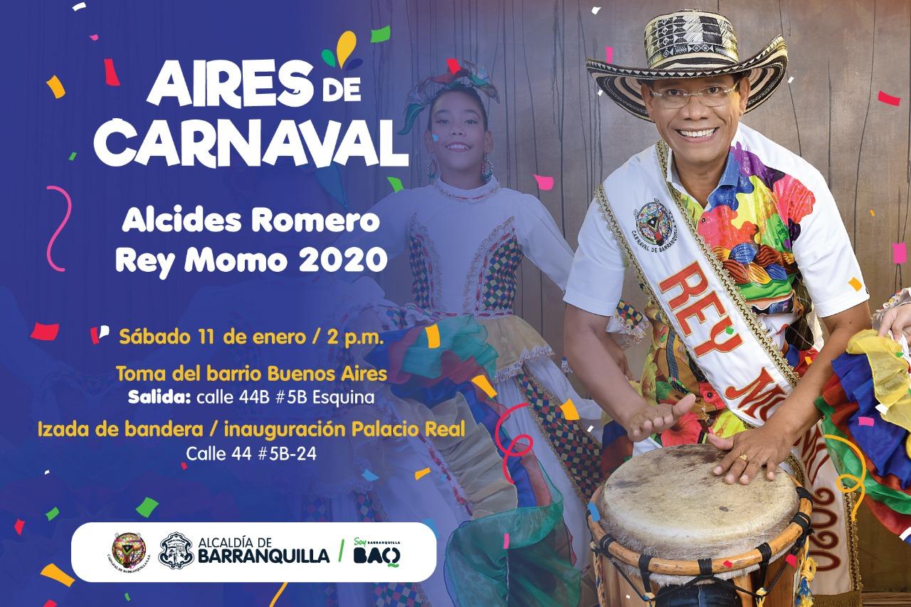 El Rey Momo Alcides Romero, se toma el barrio Buenos Aires para izar su bandera
