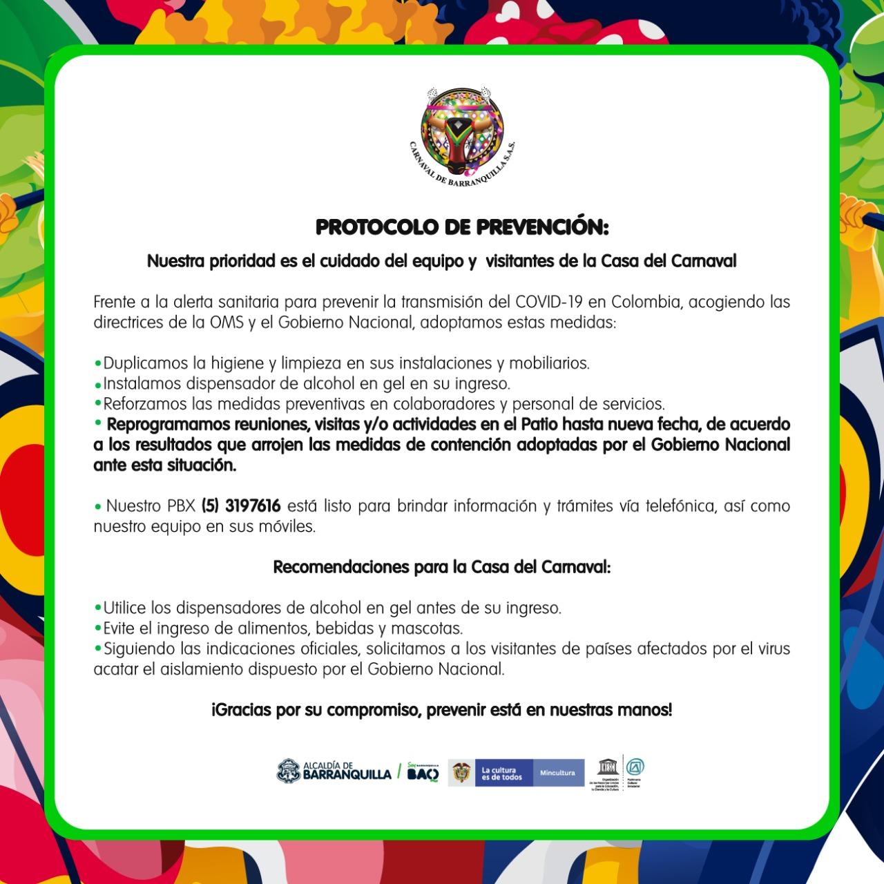 PROTOCOLO DE PREVENCIÓN CASA DEL CARNAVAL DE BARRANQUILLA