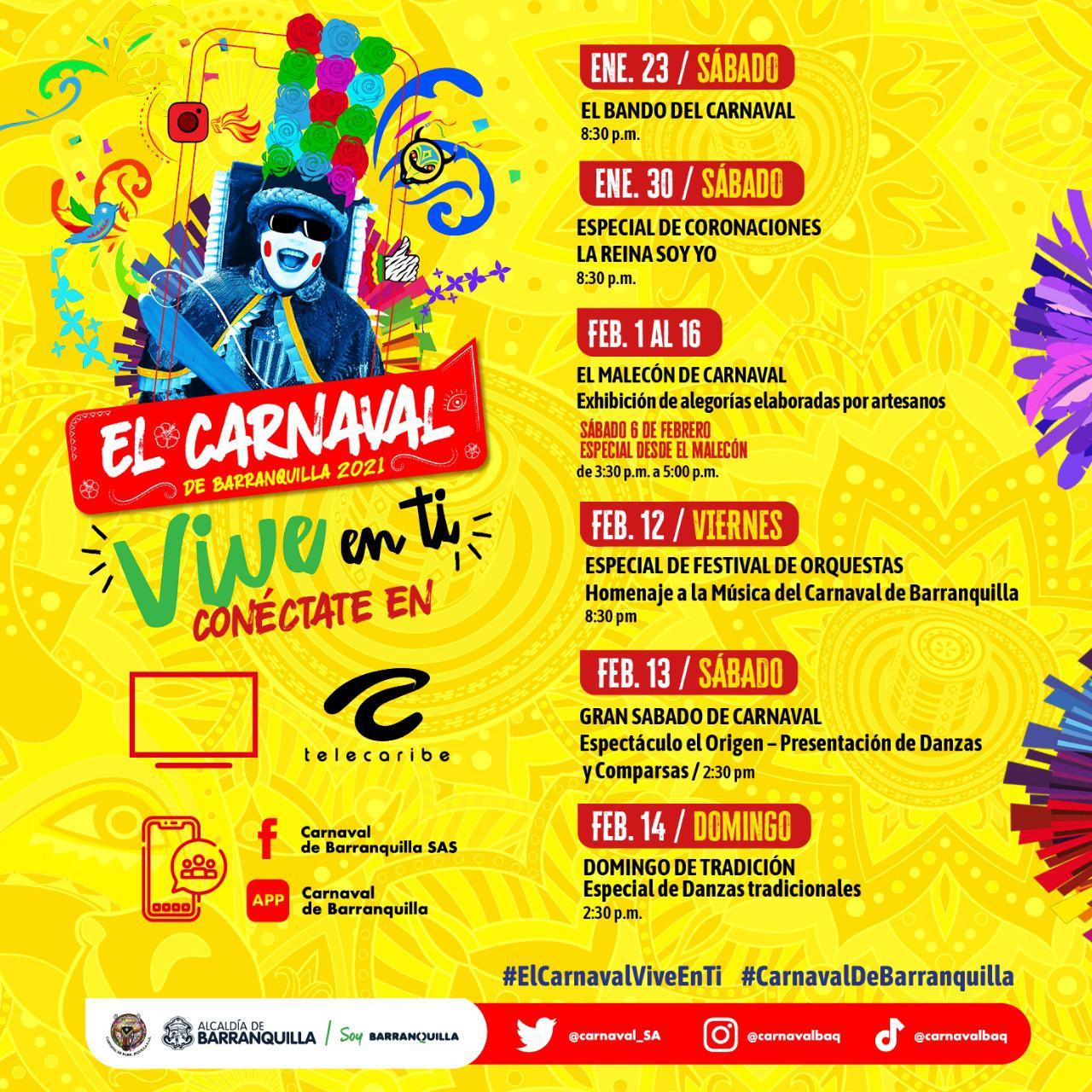 Agenda virtual del Carnaval de Barranquilla 2021